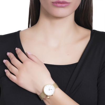 Orologio gold con quadrante su due livelli e charm a cuore laterale