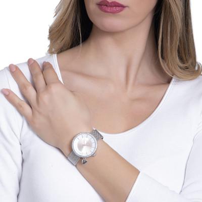 Orologio silver con quadrante bicolor su due livelli e charm a cuore laterale