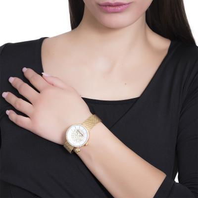 Orologio gold con quadrante bicolor su due livelli e charm a cuore laterale