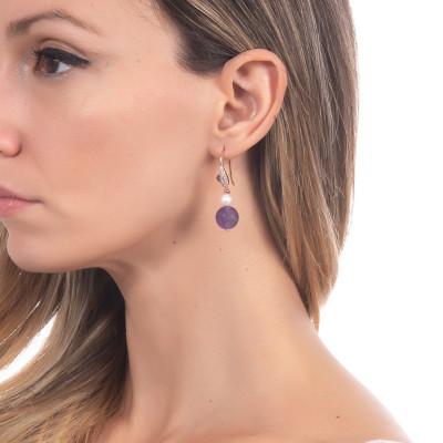 Orecchini con perla naturale e ametista