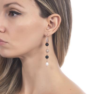 Orecchini pendenti con perle naturale e ossidiana