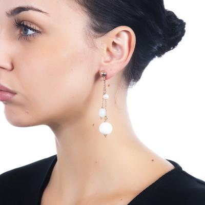 Orecchini con perle naturali, acquamarina e agata bianca