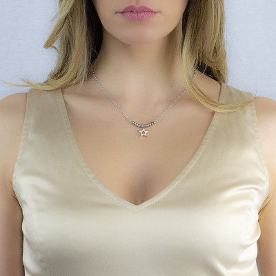 Collana bicolor con stella pendente