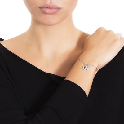 Bracciale in acciaio con charm diamante
