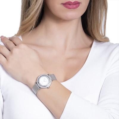 Orologio silver con quadrante bianco, Swarovski e cuori