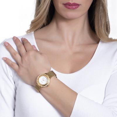 Orologio gold con quadrante bianco, Swarovski e cuori