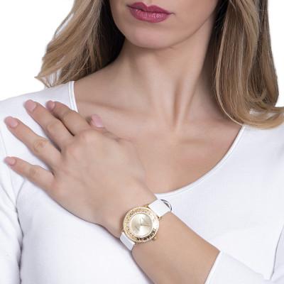 Orologio gold con Swarovski e cinturino in vera pelle bianca