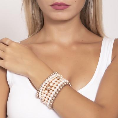 Bracciale a fascia morbida con perle Swarovski bronze, peach e white