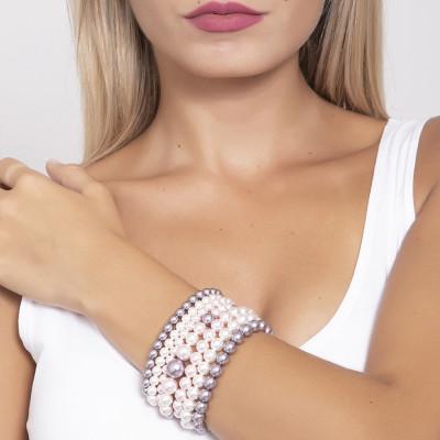 Bracciale a fascia morbida con perle Swarovski mauve, rosaline e white