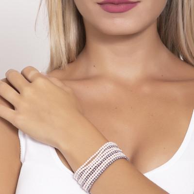 Bracciale a fascia morbida con fili di perle mauve, rosaline e white