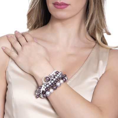 Bracciale con perle Swarovski burgundi, grey e zirconi