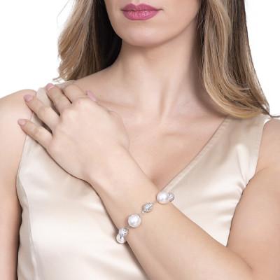 Bracciale con perle bianche Swarovski, diamantate e zirconi