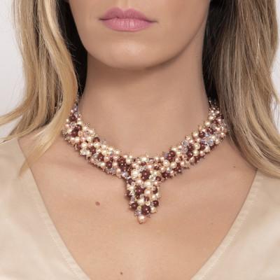 Collana di perle e cristalli Swarovski con pendente