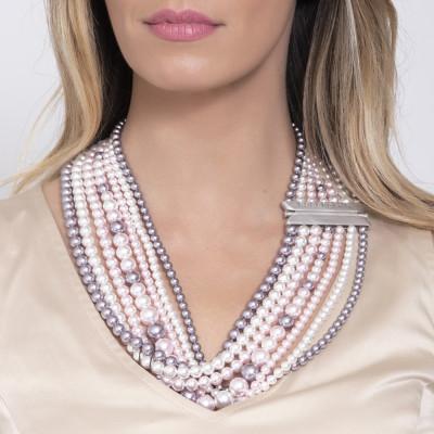 Collana multifilo con drappeggio di perle Swarovski mauve, rosaline e white