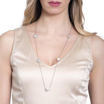 Collana con perle bianche Swarovski e diamantate