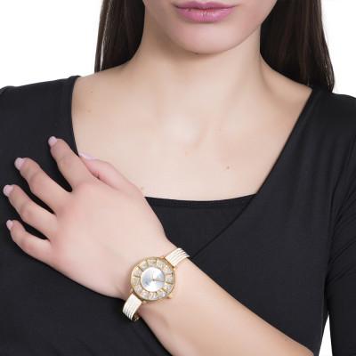 Orologio gold con cinturino semirigido in Swarovski
