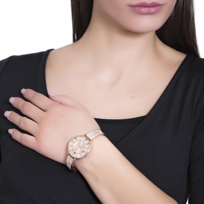 Orologio rose gold con cinturino semirigido in Swarovski