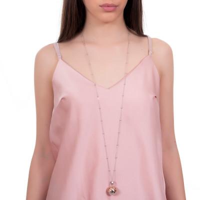 Collana con ciondolo sonoro e coppetta rosata decorata con bimbi