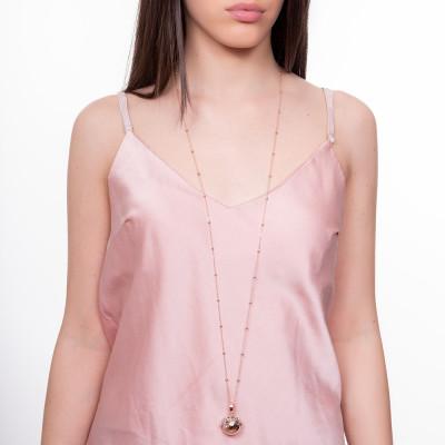 Collana rosata con ciondolo sonoro e coppetta rodiata decorata con ciucci