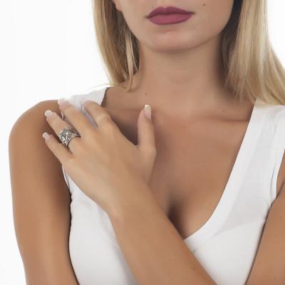Anello a fascia larga con Swarovski crystal