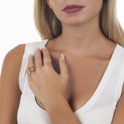 Anello placcato oro rosa a fascia larga con Swarovski crystal