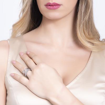 Coppia di anelli a fascia con pavè di cristalli Swarovski