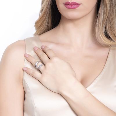 Anello a fascia aperta con pavè di cristalli Swarovski