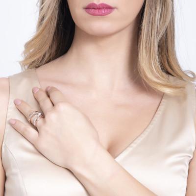 Anello rosato a fascia aperta con pavè di cristalli Swarovski