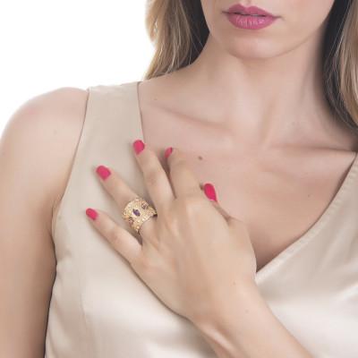 Anello a fascia con Swarovski rosa
