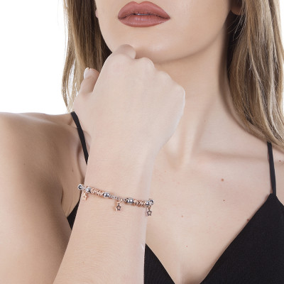 Bracciale beads con stelle rosate