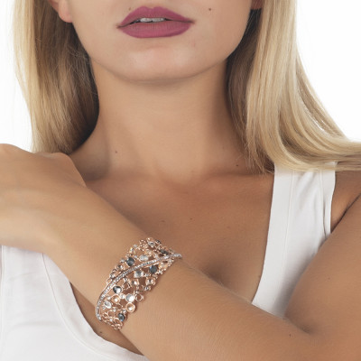 Bracciale rigido con decoro di Swarovski crystal, peach e silver night