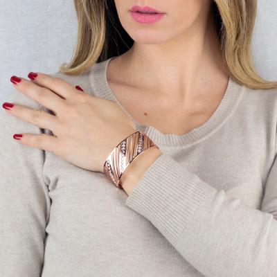 Bracciale a fascia rosato con rombi di cristalli Swarovski