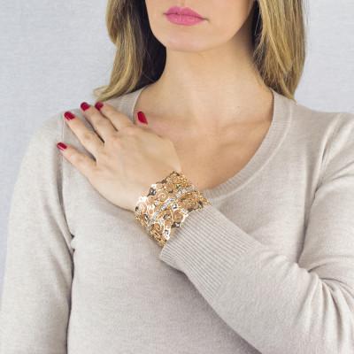 Bracciale rigido a fascia dorato con cristalli Swarovski