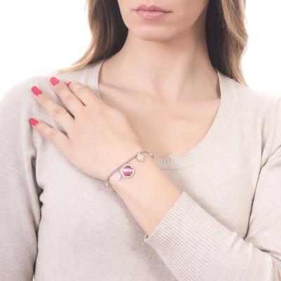 Bracciale doppio filo con cabochon pendenti fucsia e rosa chiaro con zirconi