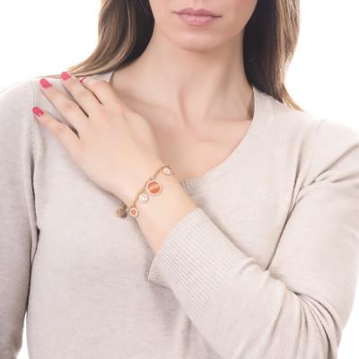 Bracciale doppio filo con cabochon pendenti arancione e beige con zirconi