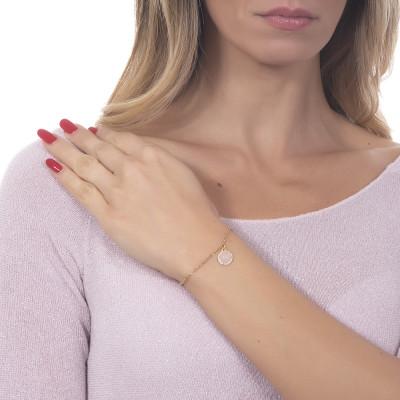 Bracciale con cabochon pendente rosa chiaro e zirconi