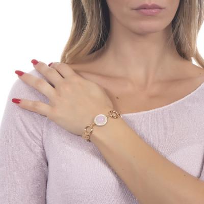 Bracciale con cabochon rosa chiaro alternati a cerchietti dorati