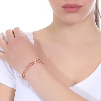 Bracciale placcato oro rosa a maglie ovali