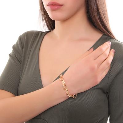 Bracciale placcato oro giallo a maglie ovali e decorate con Swarovski
