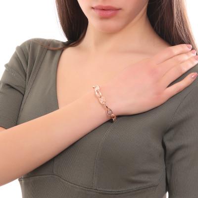 Bracciale placcato oro rosa a maglie ovali e decorate con Swarovski