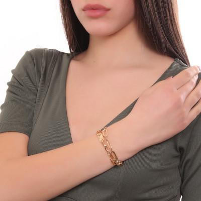 Bracciale placcato oro giallo doppio filo a maglie rettangolari
