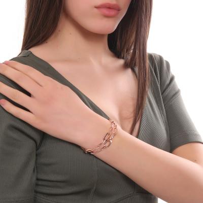 Bracciale placcato oro rosa doppio filo a maglie rettangolari