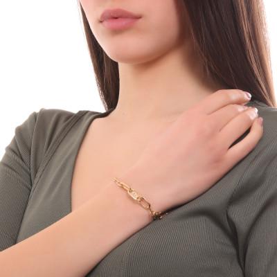 Bracciale placcato oro giallo a maglie rettangolari grandi e piccole
