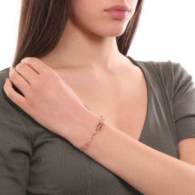 Bracciale placcato oro rosa a maglie rettangolari grandi e piccole