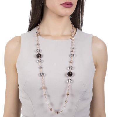 Collana rosata con agata brown, quarzo fumè e cristallo di rocca