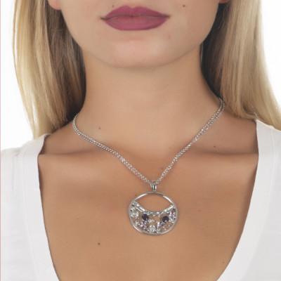 Collana doppio filo con pendente decorato di Swarovski crystal e ametyst