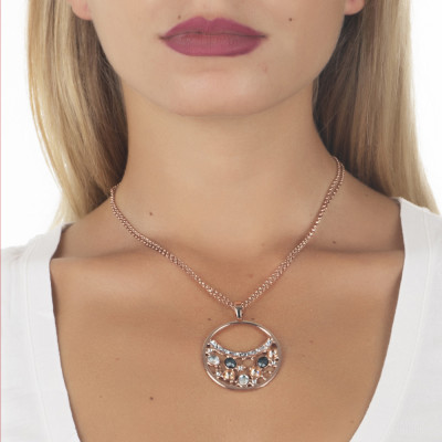 Collana doppio filo con pendente decorato di Swarovski crystal, peach e silver night