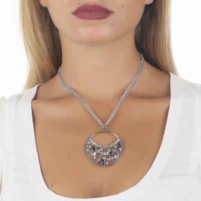 Collana doppio indossa  con pendente di Swarovski crystal e ametyst