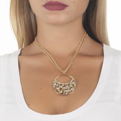 Collana doppio indosso con pendente di Swarovski crystal, chrysolite e gold