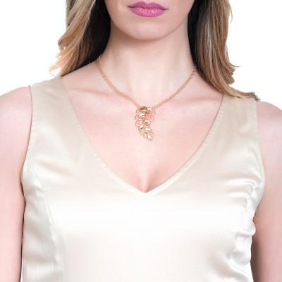 Collana dorata con pendente a spiga di grano e Swarovski